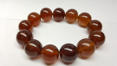 Bracelet of Mexican amber beads of  cognac colour, 43 grams, no reserve price