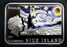 Niue - $1 2007 ' Van Gogh sunflowers ' silver with 3 Zircons