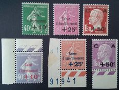 France 1928/1929 – 2 complete series of Caisse d'Amortissement, signed Calves – Yvert no. 249/251 an 253/255