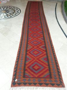 16 FEET LONG - Maimana Hand Woven Kilim Runner Double Face Design - 492 x 85 CM - EXCELLENT CONDITION