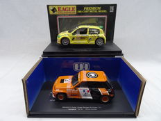 Eagle collectibles/Universal hobbies - Schaal 1/18 - Kavel met 2 Renault modellen: Reanult 5 Turbo Coupe #41 & Renault Sport Clio trophy #2