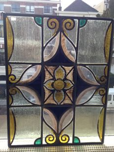 Beautiful old Jugendstil window hanger with soft colours in stained glass with mosaic pieces from mouth-blown glass - ca. 1900