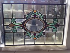 Magnificent old and large Jugendstil window panel with soft colours, stained glass with mosaic window panel - from around 1920