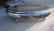 """large antique oval plate warmer on rounded feet, christofle """"perles"""" model"""
