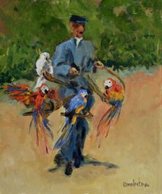 Anke Brokstra (1940-)- man with parrots