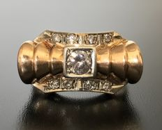 Large two-tone 18 kt gold Tank Art Deco ring decorated with diamonds and central 0.3 ct brilliant-cut solitaire