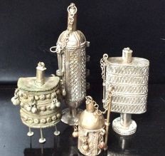 Lot of 4 perfume/kohl bottles - India - first half 20th century.