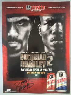 Signed poster of the Manny Pacquiao / Timothy Bradley fight - COA JSA.