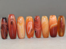 Lot 8 agate prayer beads - Asia - 21st century