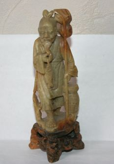 "Sculpture old figurine of an ""old fisherman"". On brick stone base - China - early twentieth century"