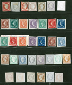 France 1870/1890 - Prince Imperial Series - 35 stamps Colour Tests
