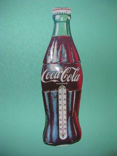 Coca Cola Bottle advertising sign with thermometer - 2nd half of the 20 century.