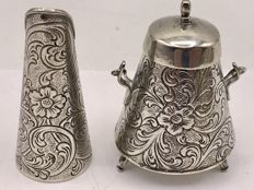 Two large silver miniatures: extinguisher and coal scuttle, The Netherlands