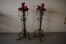 A pair of large wrought iron plant tables - The Netherlands - ca. 1920