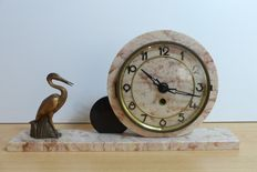 Marble art deco clock with heron or stork
