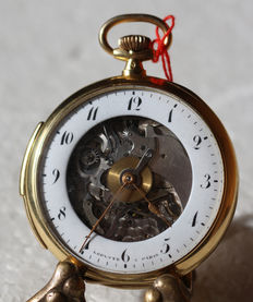 26 Lepaute a Paris – skeletonised men's Lepine gold pocket watch with minutes repetition - France 1870