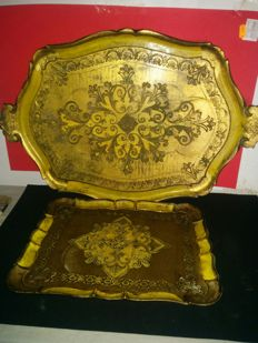 2 Vintage Trays, Wood Carved Pieces, Golden Colour, Italy, 1870-1930.