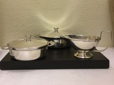 Two hotel silver cover trays and a sauce bowl - SOLA 100