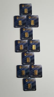10 x gold INGOTS- PURE GOLD 999/1000, 24 carats