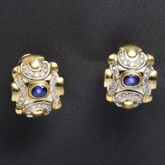 Women gold ear studs 750 yellow gold with brilliants