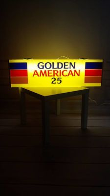 Golden American Cigarettes -Original Large lluminated advertising sign - 20th century