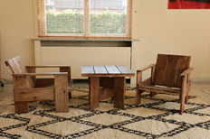 Gerrit T. Rietveld for Cassina, set of two crate chairs and one crate table