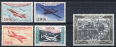 France 1954 – Airmail – Yvert Airmail no. 29, 30/33