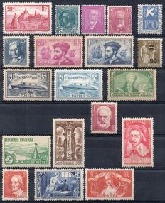 France 1934/1935 – Two complete years  – Yvert No. 294/308.