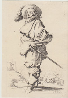 Set of 5 prints from the 16th, 17th, 18th centuries by Callot, Bloemart, Hertel, Hondius, Crispin Van Queboren