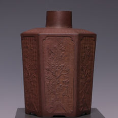 Beautiful hexagonal Yixing tea canister made of purple clay - China - 18th / 19th century