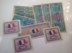France - banknotes issues mainland France, American printing with and without flag on the back. 1944