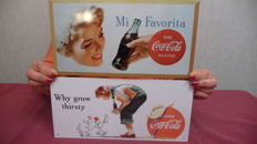 2 Coca Cola metal plates - late 20th century / early 21st century