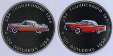"Suriname – 100 guilder coin 1996 ""Thunderbird"" (2 different ones) in slabs, NNC"