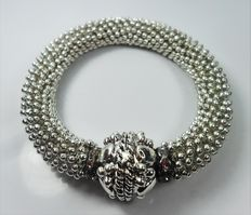 Bracelet in 925 silver with adjustable elastic band, vintage.