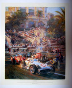 "Fine Art Print - ""Lucky For Some"" - Monaco Grand Prix 1955 - Artist : Alfredo de La Maria 2000"