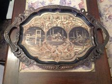 Ornamental copper tray figured and chiseled