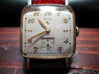 Elgin – Square shaped – Gold laminated - Steel case back – From the 1950s