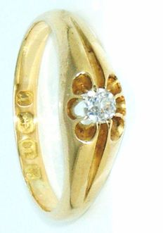 18 K Yellow Gold - Victorian Ring Old Mine Cut Diamond 0.25 CT VS1H. No Reserve price