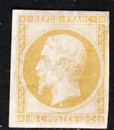 France 1862 - Napoleons III Reprint of Yvert No. 10 signed by Alain Jacquard from Maison Calves