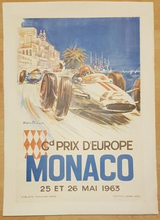 "Original Vintage Formula 1 Car Racing Poster ""Monaco Grand Prix 1963"" by Michael Turner"
