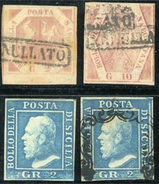 Lot of 4 stamps from Naples and Sicily