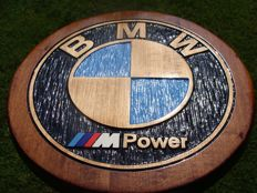 BMW M-POWER - Unique Large logo carved in wood - 40 cm