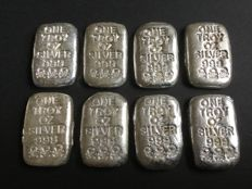 U.S.A - 8 cast silver bars, 8 x 1 oz .999, Atlantis Mint, Skull and Crossbones