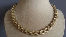 Signed Coro Goldtone & Faux pearl leaf design necklace - 1950s