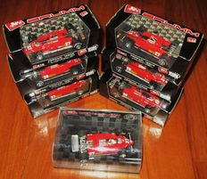 Brumm Models - Scale 1/43 - Beautiful Lot with 7 Ferrari 126C2 Turbo F.1 Pironi/Villeneuve/Tambay/Andretti 1982