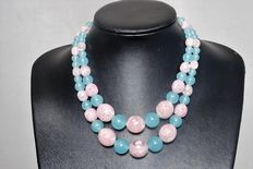 Signed Coro - Blue and Pink Lucite Bead Necklace