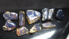 Blue Amber polished  8 pieces - 36g - 22 - 45mm