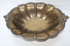 antique handmade copper fruits plate-ca.1935-France