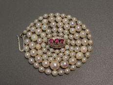 Akoya cultured pearl necklace, signed white gold ruby clasp
