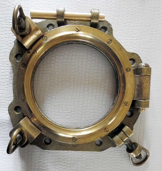 Authentic boat porthole John Roby - Double Orientation - late 19th early 20th